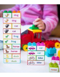 Wielorazowe naklejki - Learning words with blocks - Do nauki czytania globalnego