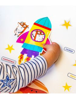 Wielorazowe naklejki dla dzieci - Kosmos dla dzieci wersja anglojęzyczna