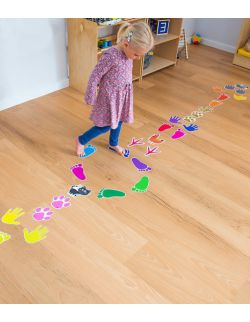 Wielorazowe naklejki na podłogę - ścieżka ruchu - naśladownictwo zwierząt - tropem zwierząt - nauka kolorów