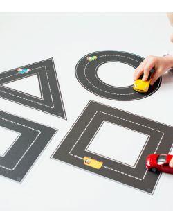 Naklejki wielorazowe na podłogę - matematyka - nauka kształtów - drogi kształty