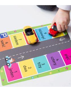 Wielorazowe naklejki na podłogę - matematyka - parking - umiem liczyć język polski i angielski