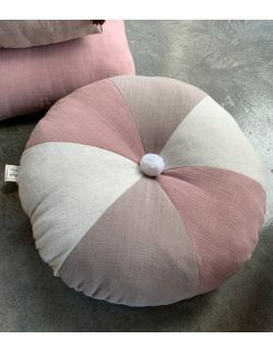 Lniany zakątek – okrągła poduszka z pomponem