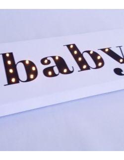 ŚWIECĄCY NAPIS BABY dekoracja lampka prezent