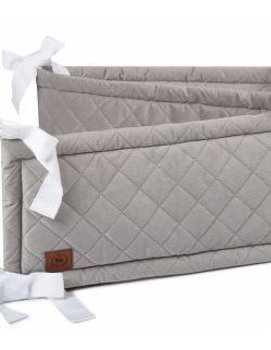 Ochraniacz do łóżeczka szary pikowany velvet