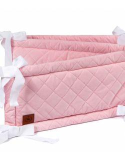 Ochraniacz do łóżeczka różowy pikowany velvet