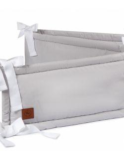 Ochraniacz do łóżeczka szara bawełna Premium