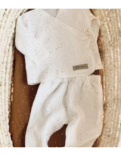 Kaftanik z legginsami biały kropki