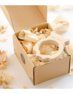 Gryzak drewniany Pani Huhu w pudełku