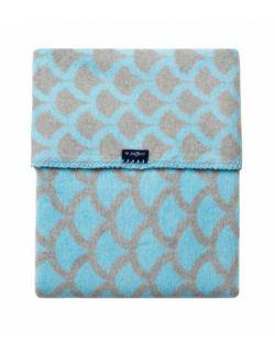 Koc bawełniany 75 x 100 cm Półkola niebieskie z szarym