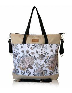 wodoodporna torba do wózka shopper (kwiaty vintage białe tło - beż)