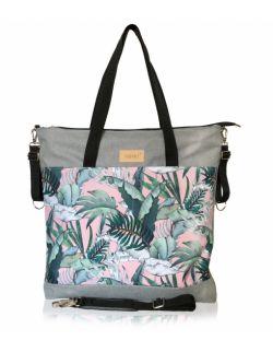 wodoodporna torba do wózka shopper (zielone liście różowe tło -jasna szara)