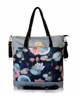 wodoodporna torba do wózka shopper (lilia wodna - jasno szara)