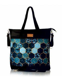 wodoodporna torba do wózka shopper (palmowe plastry - czarna)