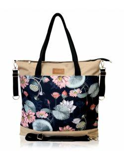 wodoodporna torba do wózka shopper (lilia wodna - beż)