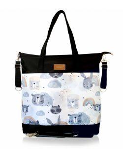 wodoodporna torba do wózka shopper (zwierzątka z tęczą - czarna)
