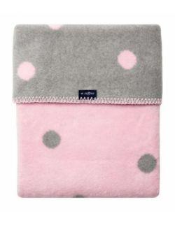 Koc bawełniany 75 x 100 cm Grochy szare z różowym jasnym
