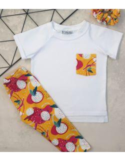 Zestaw dla dziewczynki: Papaya pocket (koszulka, legginsy, frotka)