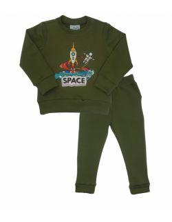 Dres dziecięcy dla chłopca, oliwkowy, z motywem kosmosu