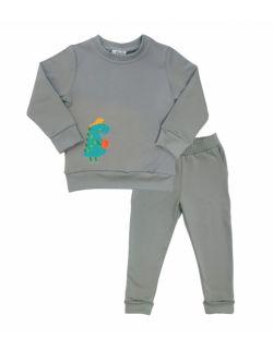 Dres dziecięcy dla chłopca szary, dinozaur