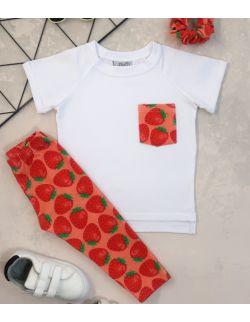 Zestaw dla dziewczynki: Strawberry Pocket (koszulka+legginsy+frotka)