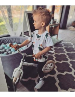 Koszulka dla chłopca, biała, Dino roller skater
