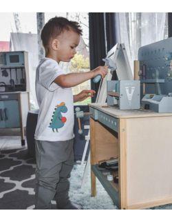 Koszulka dla chłopca, biała z nadrukiem Dino