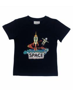 Koszulka dla chłopca, granatowa Space, kosmos