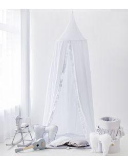 Bawełniany baldachim z falbanką - biały