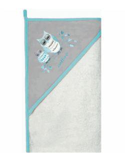 Okrycie kąpielowe Bawełna Welur 100x100 Biało szary Sowy TSz