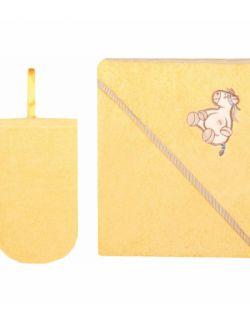 Okrycie kąpielowe z myjką 100% Bawełna 80 x 80 Żółty