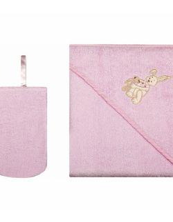 Okrycie kąpielowe z myjką 100% Bawełna 80 x 80 Różowy
