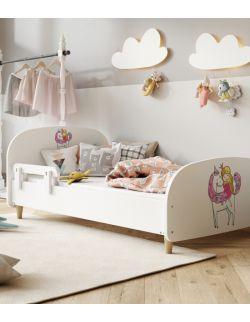 Łóżko Olli 140x70 białe - jednorożec i księżniczka