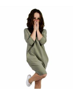 Damska tuniko -sukienka w kropki - Pistacjowa w kropki