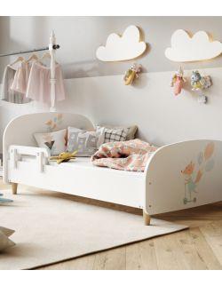 Łóżko Olli 140x70 białe - króliczka z balonami