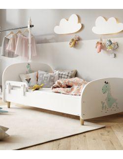 Łóżko Olli 140x70 białe - dinozaur