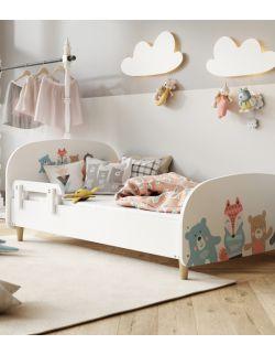 Łóżko Olli 140x70 białe - zwierzaki