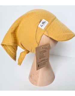 Chusta z daszkiem muślinowa na głowę ochra