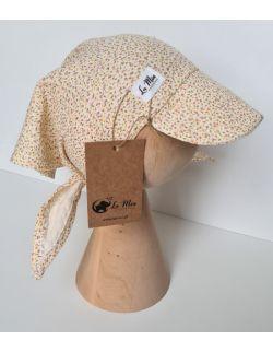 Chusta z daszkiem muślinowa na głowę mini flowers