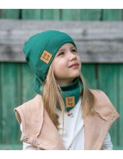 Jesienna czapka z kominem-butelkowa zieleń