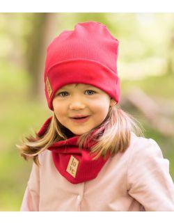 Jesienna czapka z kominem-czerwona.