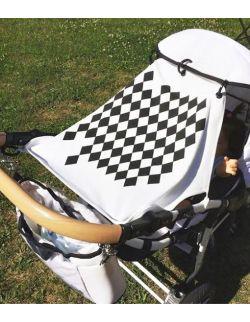 Osłonka do wózka na słońce i wiatr HARLEQUIN BLUE & WHITE