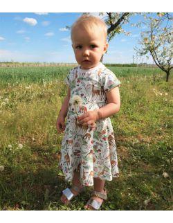 Sukienka dla dziewczynki wiosna/lato-wzór jelonki.