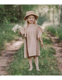 Beżowa sukienka z motylkowym rękawkiem