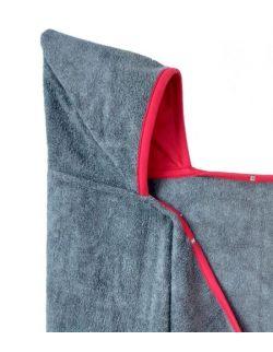 Bambusowy ręcznik-narzutka z kapturem - GREY&RED