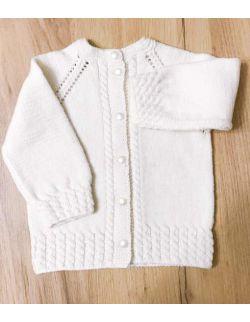 Elegancki kremowy wełniany sweterek dla dziewczynki na chrzest
