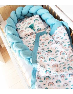 Kokon 2w1 Tęcza Warkocz Premium Gniazdko niemowlęce