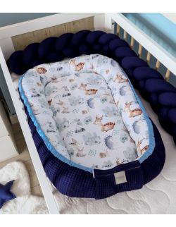 Kokon niemowlęcy Wafel Granatowy las Premium