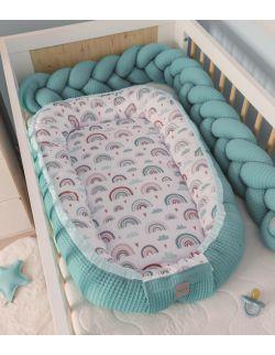 Kokon niemowlęcy Wafel Tęcza turkusowa