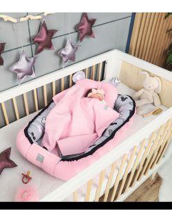 Kokon + koc + poduszka Miki różowe