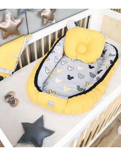 Kokon + koc + poduszka Miki żółte